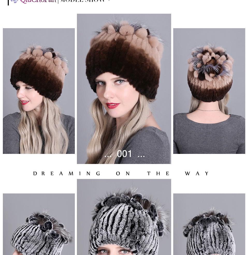 Women's Fur Hat, Winter Natural Rabbit Fox Fur Cap, 2018 New Fashion Warm Cap 14
