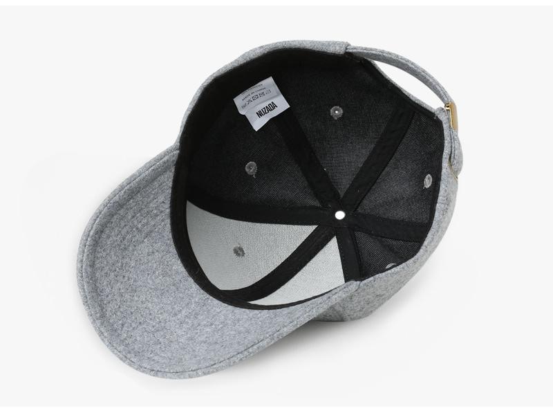 Brand NUZADA Autumn Winter Keep Warm Snapback Bone Men Women Baseball Caps Hats Cap Simpl Color Black Grey Woolen 9