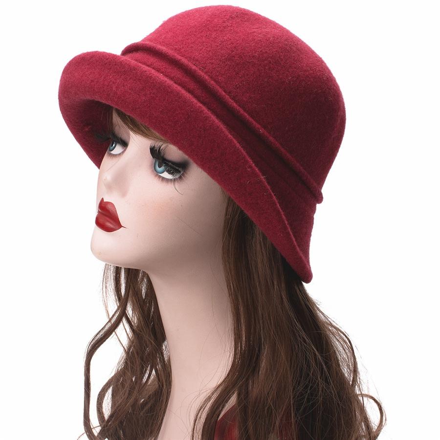 Women Cloche Hat, Wool Fedoras Hat, , Women's Fashion Soft Leaves Fur Bobbles Bucket Hat 37