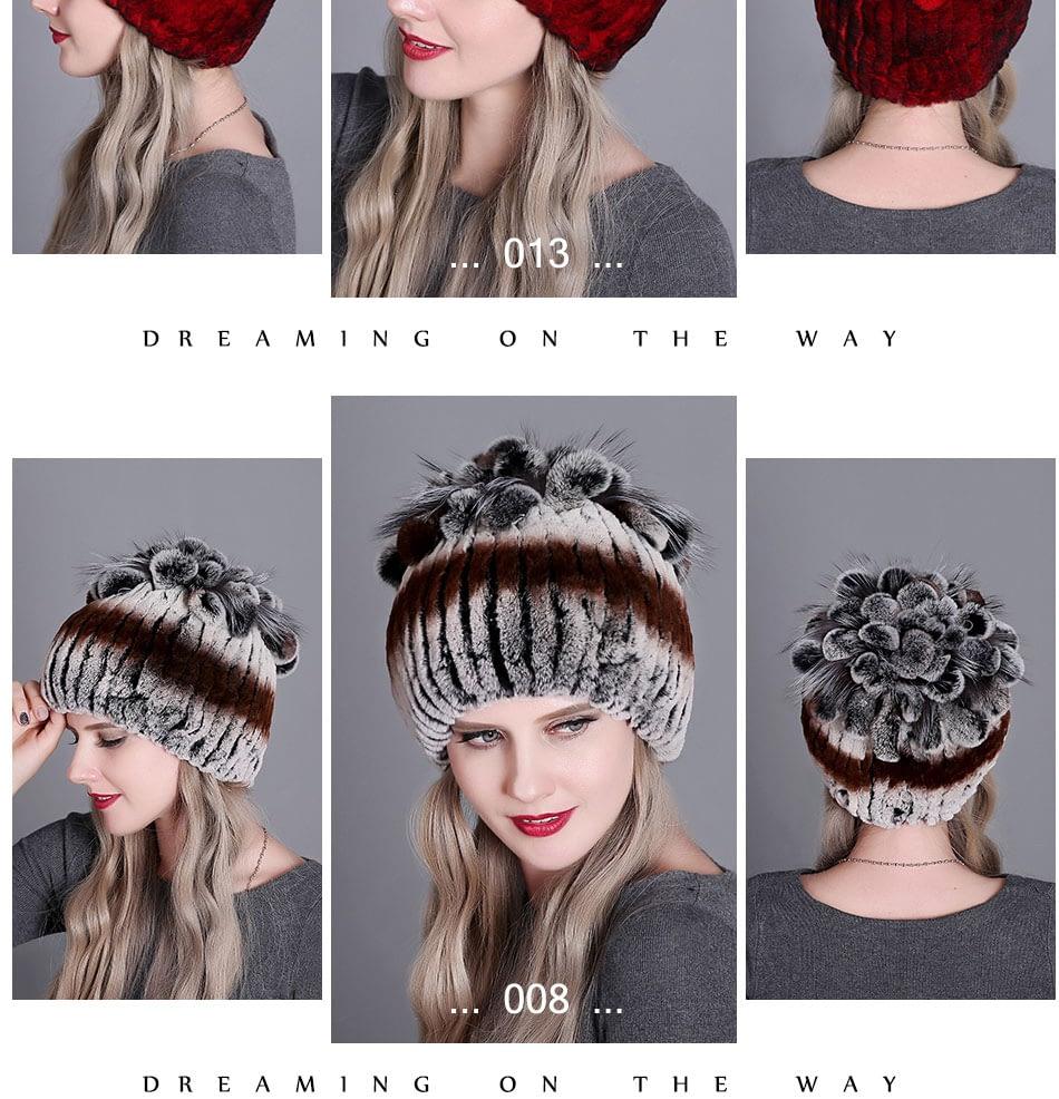 Women's Fur Hat, Winter Natural Rabbit Fox Fur Cap, 2018 New Fashion Warm Cap 19