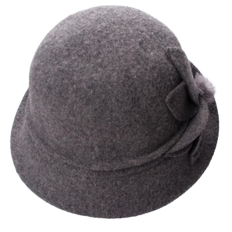 Women Cloche Hat, Wool Fedoras Hat, , Women's Fashion Soft Leaves Fur Bobbles Bucket Hat 22