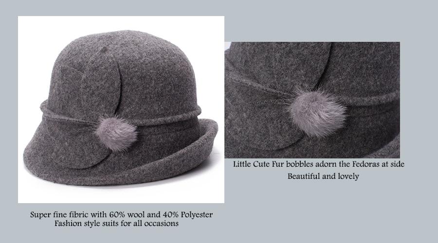 Women Cloche Hat, Wool Fedoras Hat, , Women's Fashion Soft Leaves Fur Bobbles Bucket Hat 12