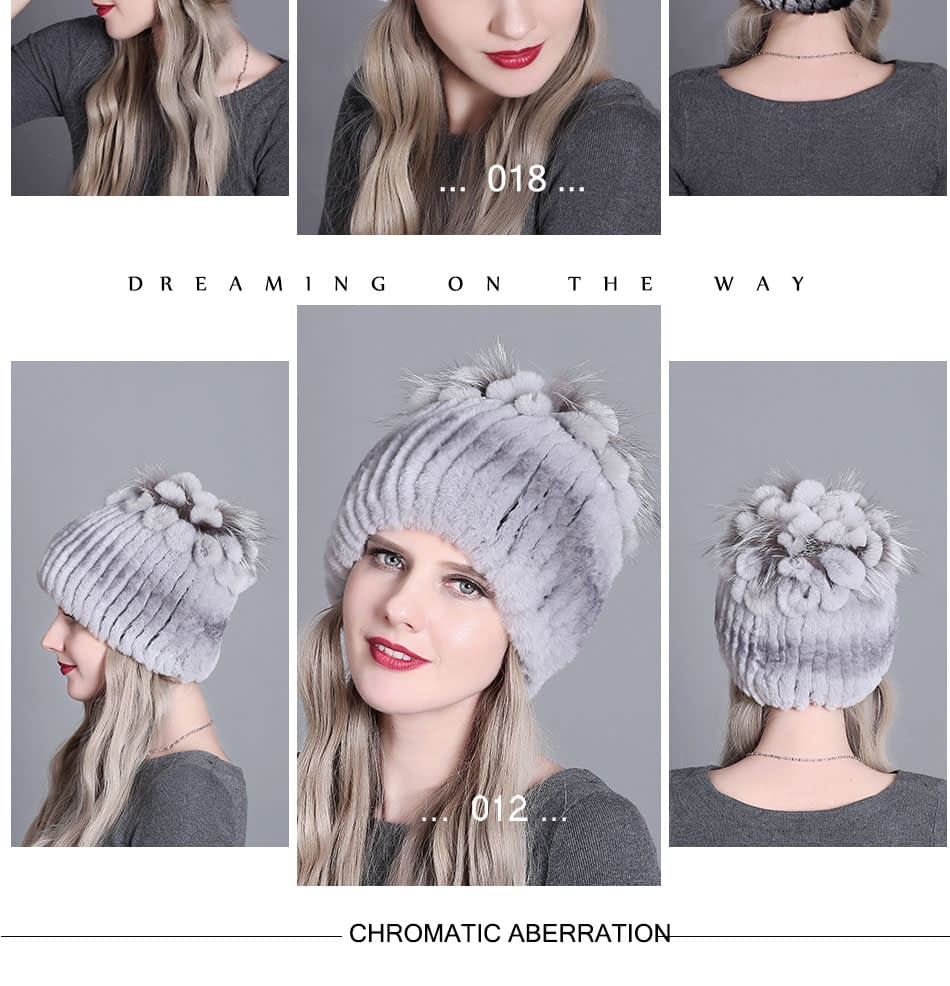 Women's Fur Hat, Winter Natural Rabbit Fox Fur Cap, 2018 New Fashion Warm Cap 25