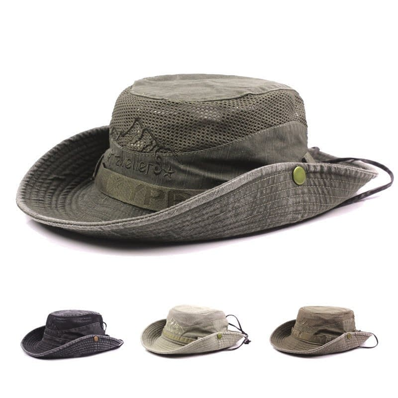 Men's Cap Summer, 100% Cotton Retro Mesh Breathable Bucket Hat, Wind Rope Fixed, Dad's Beach Hat 15