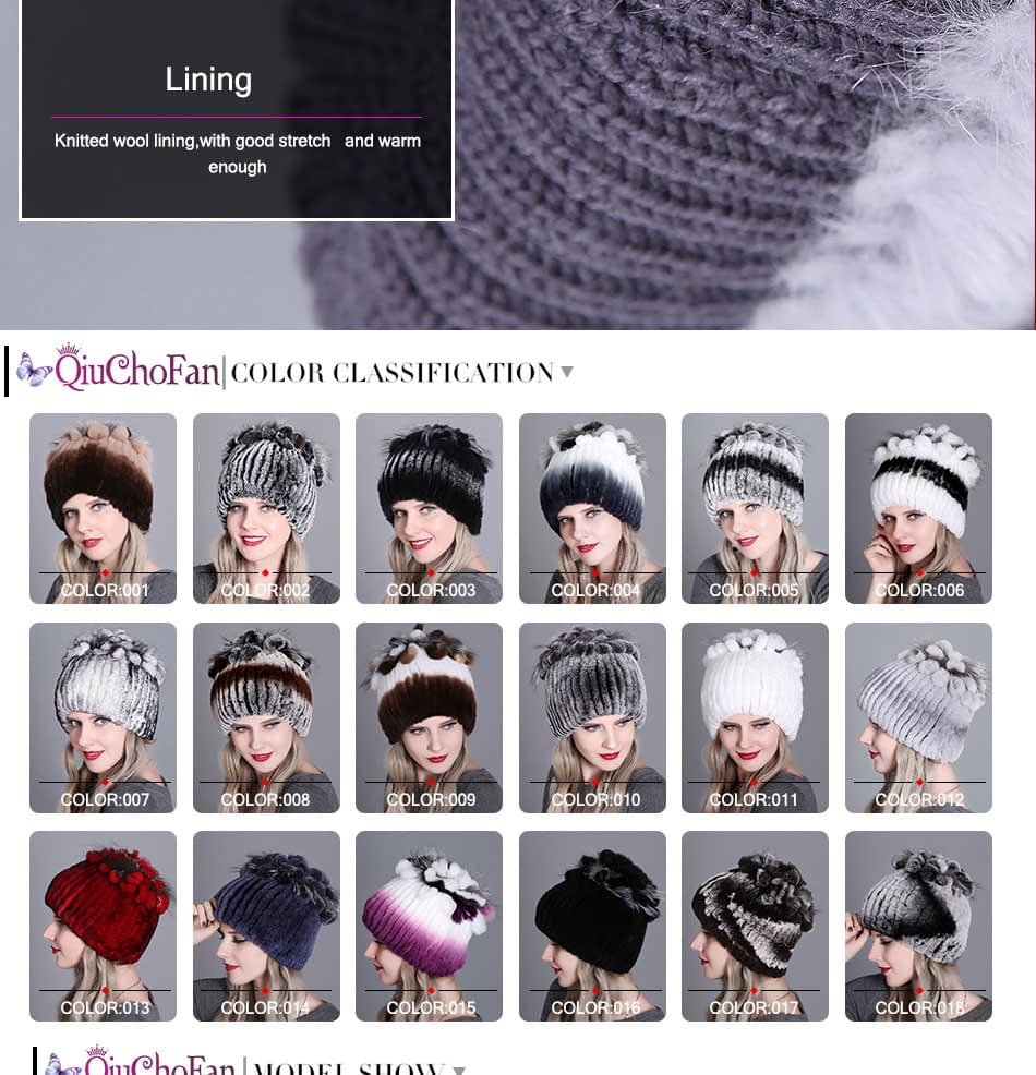 Women's Fur Hat, Winter Natural Rabbit Fox Fur Cap, 2018 New Fashion Warm Cap 13