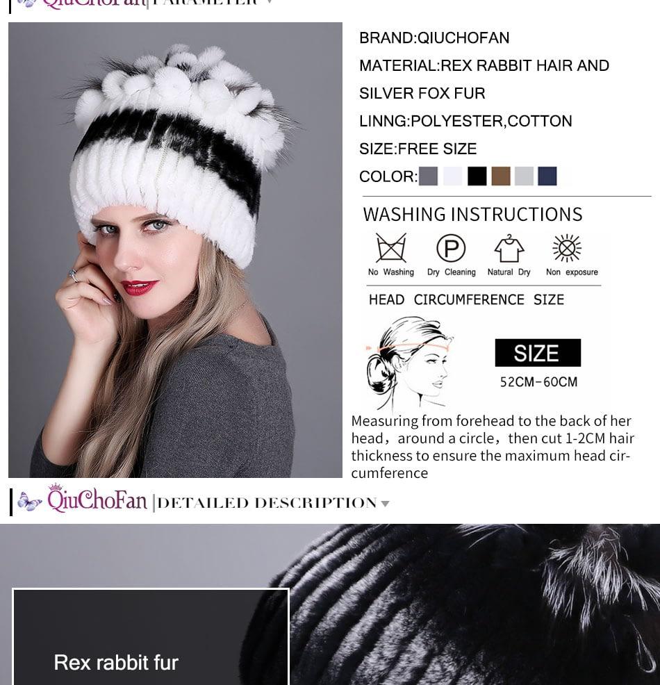 Women's Fur Hat, Winter Natural Rabbit Fox Fur Cap, 2018 New Fashion Warm Cap 11