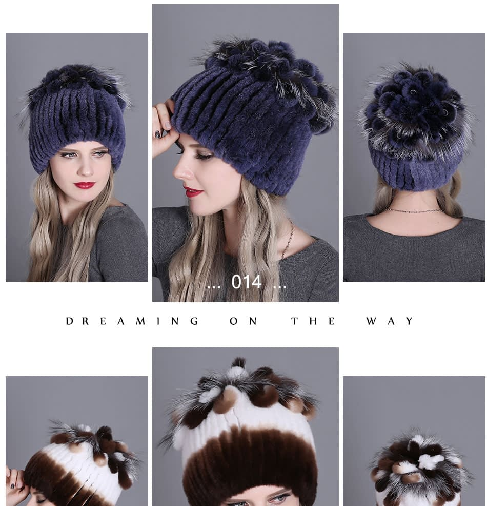 Women's Fur Hat, Winter Natural Rabbit Fox Fur Cap, 2018 New Fashion Warm Cap 20
