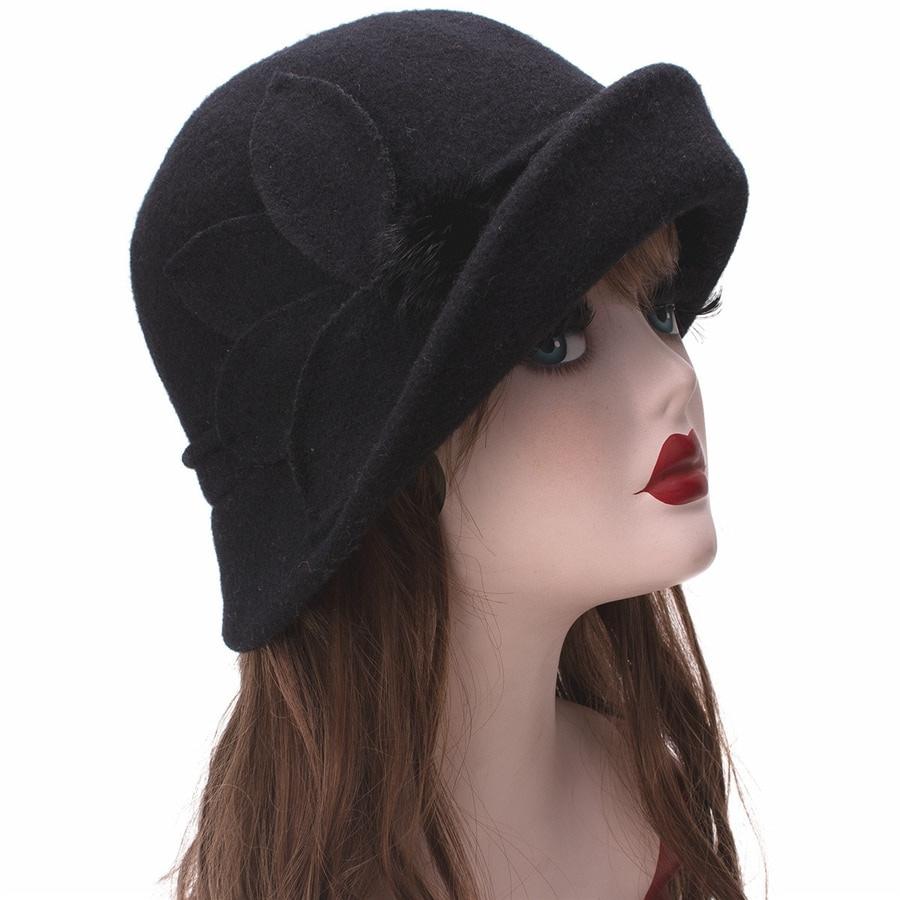 Women Cloche Hat, Wool Fedoras Hat, , Women's Fashion Soft Leaves Fur Bobbles Bucket Hat 19