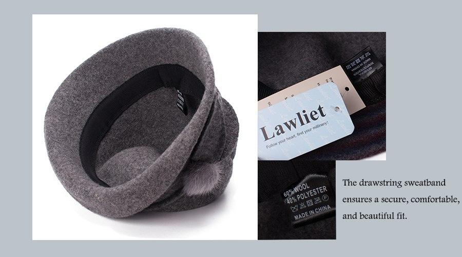 Women Cloche Hat, Wool Fedoras Hat, , Women's Fashion Soft Leaves Fur Bobbles Bucket Hat 13