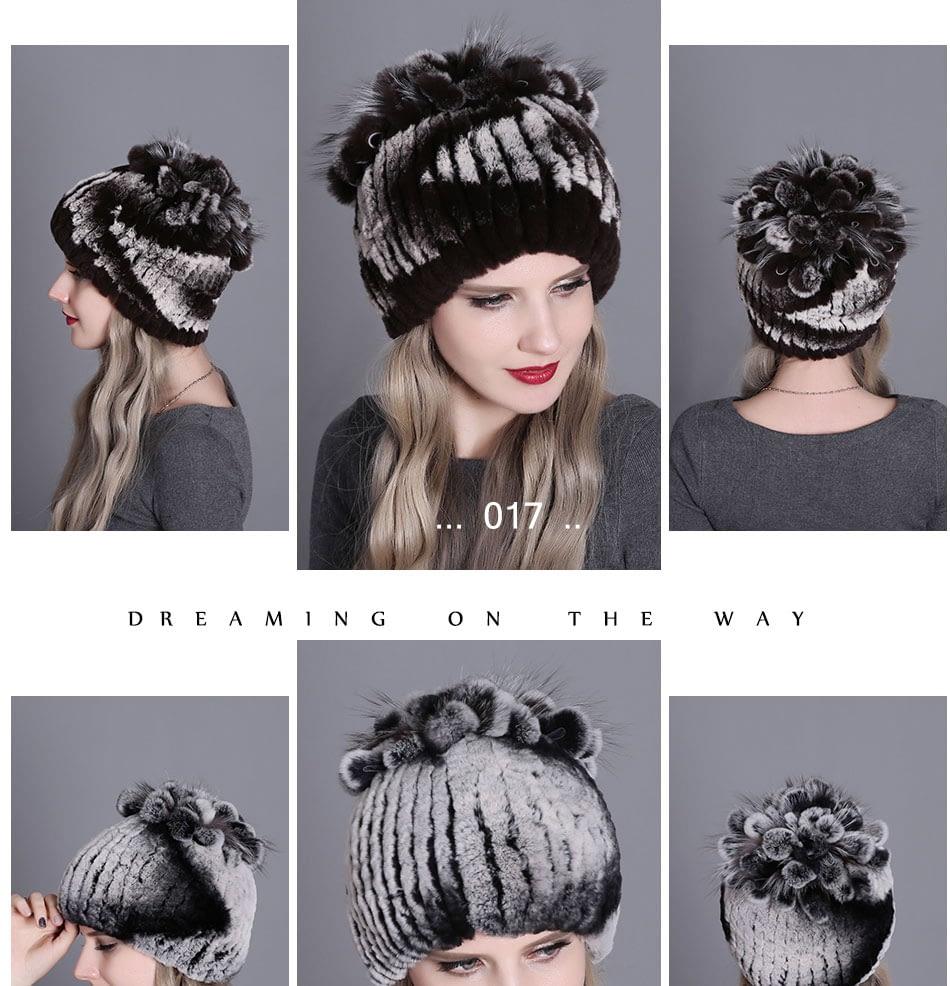 Women's Fur Hat, Winter Natural Rabbit Fox Fur Cap, 2018 New Fashion Warm Cap 24