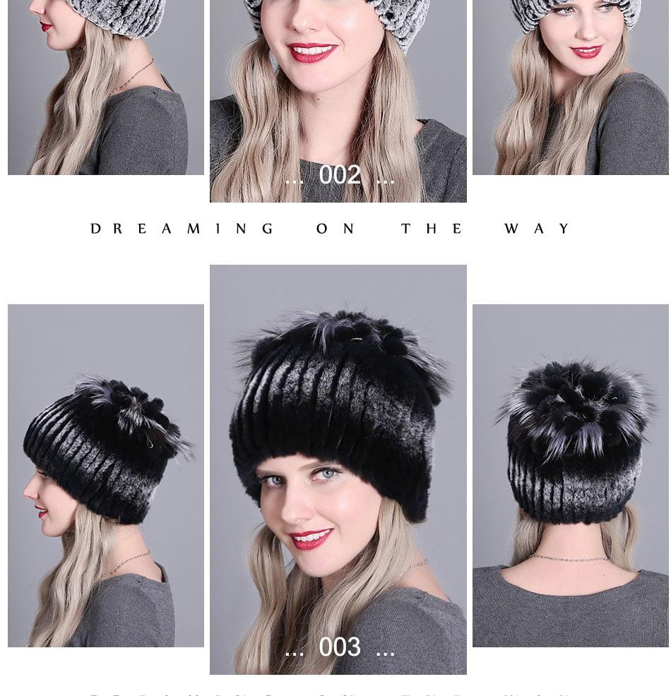 Women's Fur Hat, Winter Natural Rabbit Fox Fur Cap, 2018 New Fashion Warm Cap 15