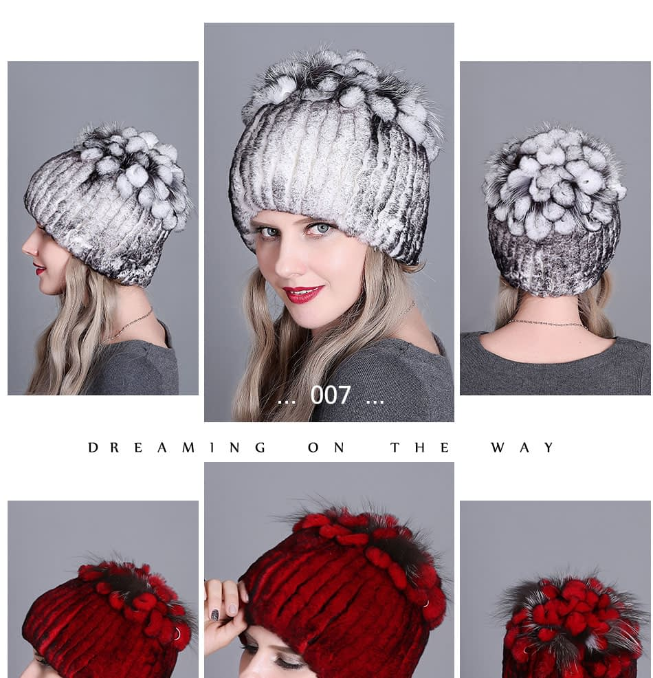 Women's Fur Hat, Winter Natural Rabbit Fox Fur Cap, 2018 New Fashion Warm Cap 18