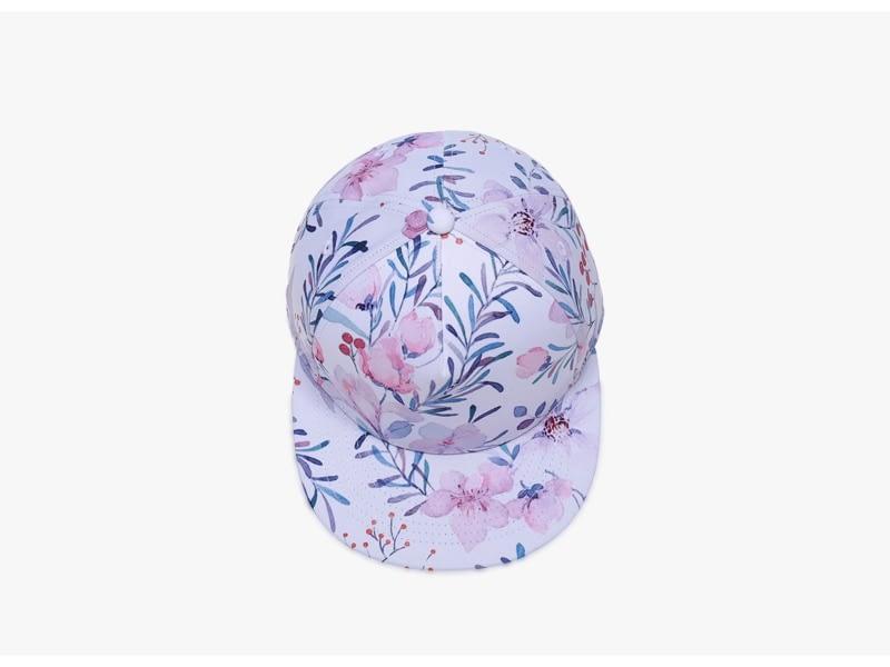 3D Printing Cap, Small Fresh Flowers Women Baseball Cap, Bone Cotton Adjustable Snapback 6
