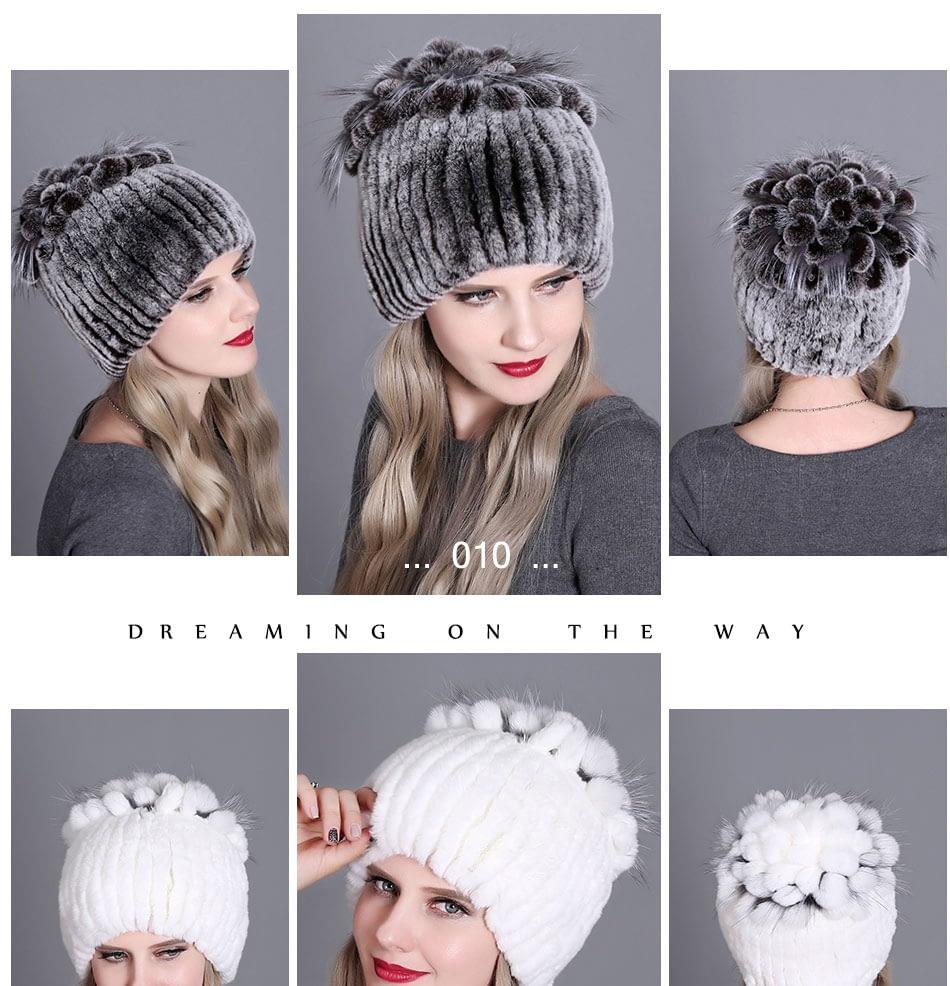 Women's Fur Hat, Winter Natural Rabbit Fox Fur Cap, 2018 New Fashion Warm Cap 22