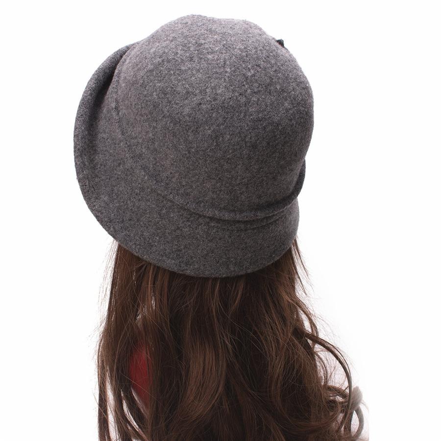 Women Cloche Hat, Wool Fedoras Hat, , Women's Fashion Soft Leaves Fur Bobbles Bucket Hat 26