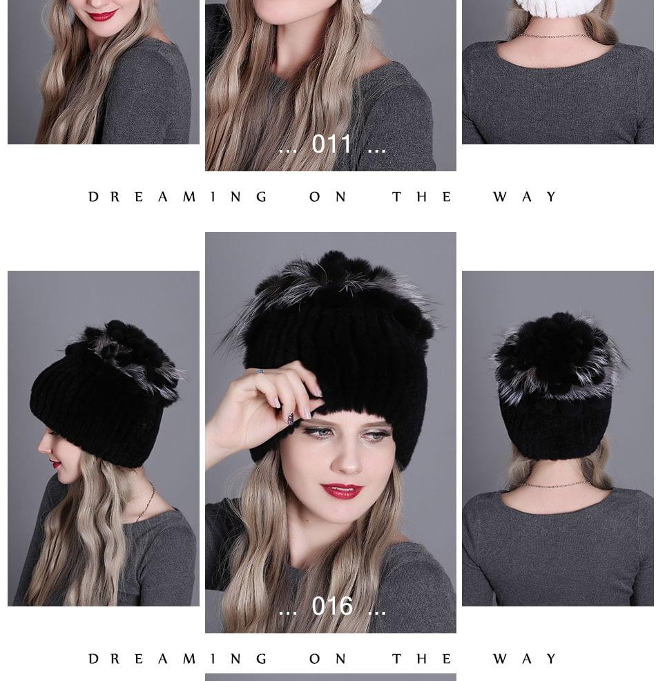 Women's Fur Hat, Winter Natural Rabbit Fox Fur Cap, 2018 New Fashion Warm Cap 23
