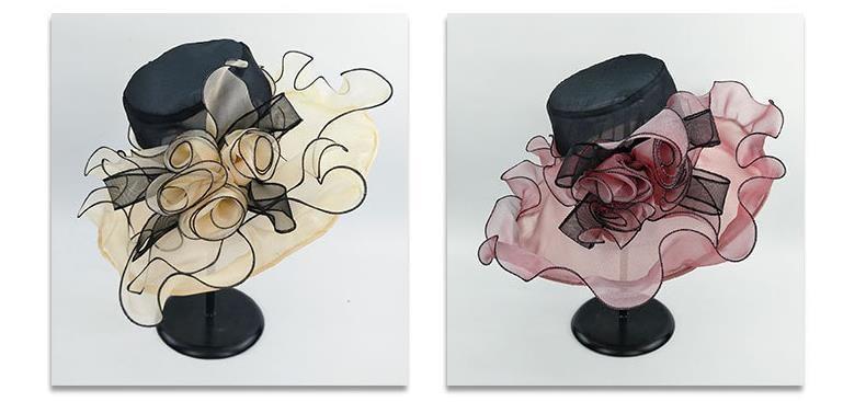 Summer Fashion Aristocratic Sombreros Hat, Wide Large Brim, Elegant Flower, Ladies Hat 1