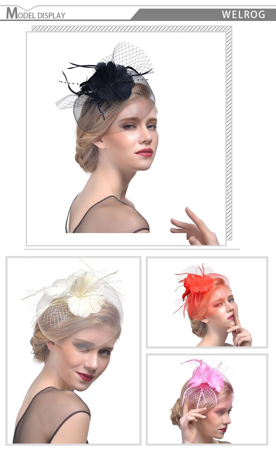 Fashion Feather Cap, Lady Cocktail Dinner, Formal Vintage Sombreros, Chapeau Fascinators Hat 11