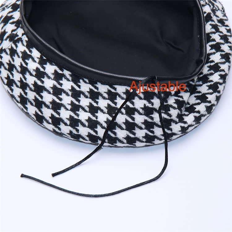 New Plaid Beret Hat, Women's French Beret, Hounds Tooth Beret, Adjustable 14