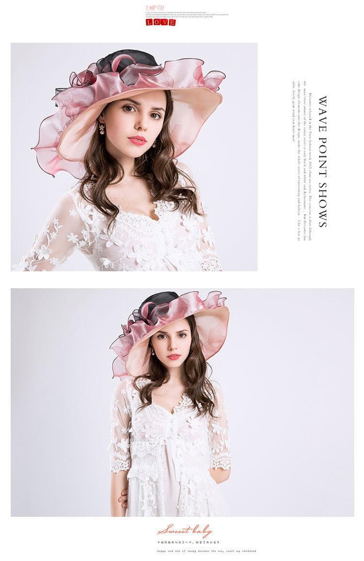 Summer Fashion Aristocratic Sombreros Hat, Wide Large Brim, Elegant Flower, Ladies Hat 8