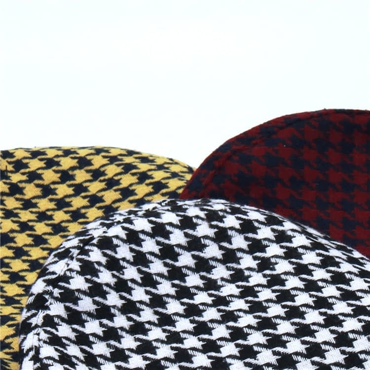 New Plaid Beret Hat, Women's French Beret, Hounds Tooth Beret, Adjustable 20