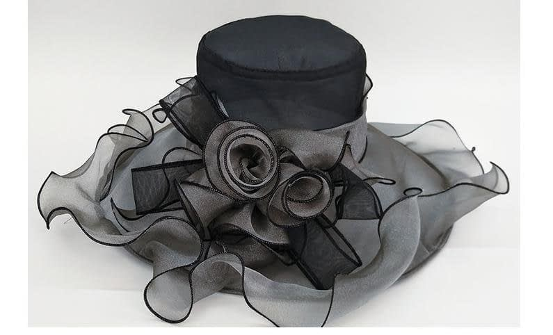 Summer Fashion Aristocratic Sombreros Hat, Wide Large Brim, Elegant Flower, Ladies Hat 5